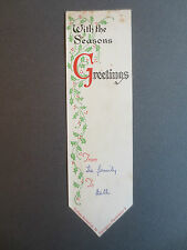 Vintage Greetings BOOKMARK CHRISTMAS Collets Bookshop MANCHESTER Holly OLD