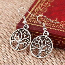 Silver Tree Of Life Dangle/Dangly Hook Fastening Earrings/Size 2cm Accross