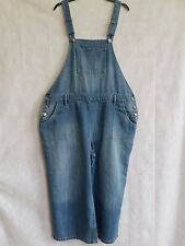 Y148 WOMENS NEXT BLUE DENIM RELAXED SHORTS DUNGAREES UK 20 W38-40 L22