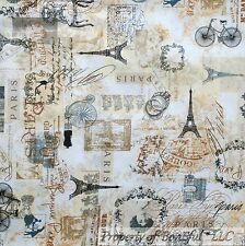 BonEful Fabric FQ Cotton Quilt Cream Brown Black Eiffel Tower Bike Paris French
