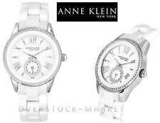 NEW! Anne Klein New York Womens 12/2199WTWB Crystal Accented Ceramic Link Watch!