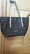 GUESS DELANEY SIGNATURE TOTE HANDBAG PURSE SHOPPER CLASSIC BROWN *FREE SHIP*