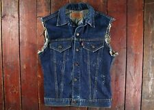 VTG 60s LEVI'S BIG E SLEEVELESS INDIGO DENIM VEST JACKET PUNK ROCK USA SMALL