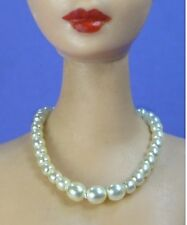 Dreamz CREAM WHITE Vintage Barbie Graduated Pearl Necklace REPRO Doll Jewelry