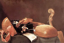 Oil painting evaristo baschenis - still life with musical instruments on table