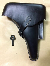 WWII GERMAN LUGER P08 Hardshell BLACK LEATHER HOLSTER w. Takedown TOOL - Repro
