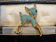 VINTAGE JEWELERY ADORABLE SEED TURQUOISE BABY FAWN DEER BAMBI BROOCH SHAWL PIN