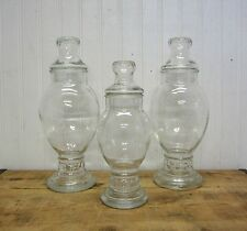 Lot 3 Vintage Clear Glass Drugstore Type Apothecary Jars Wedding Candy Buffet
