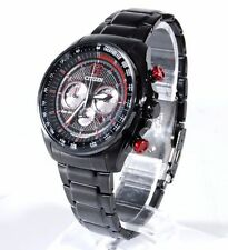 Citizen Eco-DRIVE Mens Black Stainless Steel Red Solar Chrono Watch CA4195-51E