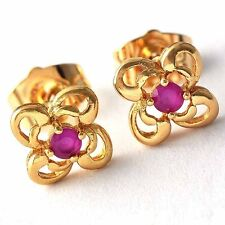 Nice Red Ruby Four-leaf flower Gold Filled Womens /Girls Stud Earrings  D1674