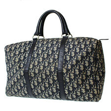 Christian Dior Boston Hand Bag Navy Canvas France Vintage Authentic #9205 W