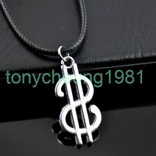Cool silver dollar sign pendant necklace XL440