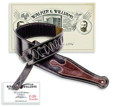 Walker & Williams C-20 C Black Leather Guitar Strap Brown Gothic Overlay Padded