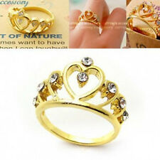 Unique Ring Gift Alloy Hollow Crown Rhinestone Peach Heart Crystal Finger Ring