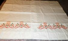 Vintage Pair Embroidered Pillowcases Cross Stitch Flowers Handmade Thomaston