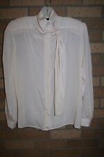 Gianna Blouse Sheer Peach Polyester Button Up Size 10 Polyester