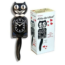 Kitty-Cat Clock - Black 3/4 size with rolling eyes -  Battery included