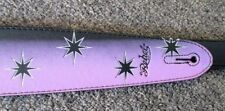REBEL GUITAR STRAP STARS - PURPLE WITH BLACK for GUITAR or BASS