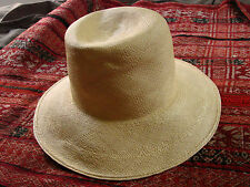 Vintage Straw Hat  PANAMA Fedora 6 3/4 Tall CRown VGC s