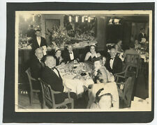 VINTAGE BANQUET PHOTO MEN IN TUXEDOS LADIES W/ TIARAS HIGH END RESTAURANT W/ BAR
