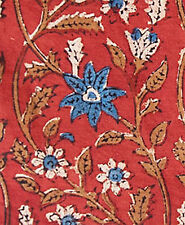 Hand Block Printed Cotton. Artisan Fabric. 2½ Yards. Red & Blue. Bagru India