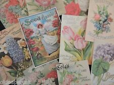 Lot of 12 Vintage FLOWER & SEED CATALOG DIE CUTS 4 Cards || FREE SHIP || S20