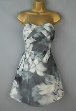 Karen Millen dress cocktail strapless party draped floral print blue grey UK 10