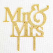 MR and MRS Gold Glitter Acrylic Cake Topper Bride and Groom Wedding Cake USA