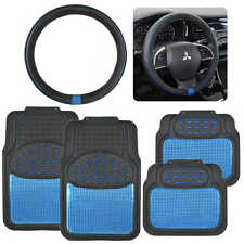 Blue/Black Metallic Design Rubber Car Floor Mat & Blue Ring Steering Wheel Cover