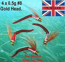 4 AMERICAN 0.5g #8 GOLD-HEAD RED SILICONE WORM TAIL TROUT SALMON FISHING FLIES
