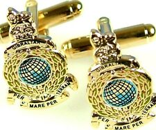 ROYAL MARINES COMMANDO CLASSIC HAND MADE GOLD PLATED  CUFFLINKS
