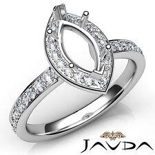 Halo Pave Setting Marquise Diamond Engagement Platinum Semi Mount Ring 0.45Ct