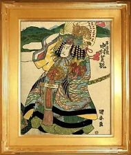 Samurai with War Fan 15x22  Japanese Print by Kuniyasu Asian Art Japan Warrior