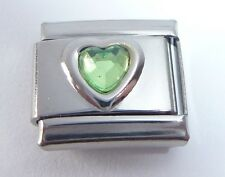 LIGHT GREEN HEART GEM Italian Charm August Birthstone Love 9mm Classic Size Gems
