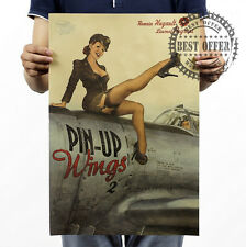 Poster Vintage Retro Wall Art Home Office Sex Sexy Lady Pin up Wings 20x14""