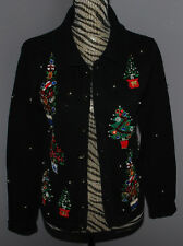 Ugly Christmas Sweater Victoria Jones Cardigan Petite Small Black Jewels Beaded