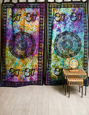 OM Aum CHAKRA Yoga Indian TIE DYE Hippie Wall Hang TAPESTRY Door Window Curtain
