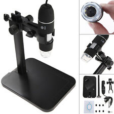 800X 8 LED 2MP USB Digital Microscope Endoscope Video Magnifier Camera + Stand