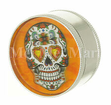 """2"""" Candy Skull 3D Holographic Grinder Silver 3 Piece Tobacco Herb Spice G41CSK3D"""