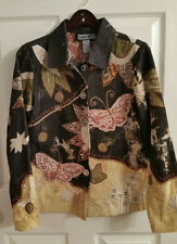 Indigo Moon Blazer Jacket Small Butterfly Patchwork Black Denim Fully Lined