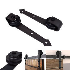 2pc Rollers Black Arrow Antique Steel Interior Sliding Barn Wood Door Hardware
