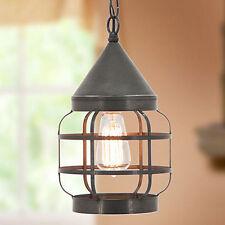 Round Hanging Strap Light in Blackened Tin | Country Kitchen Lighting