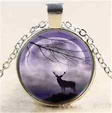 Elk With Moon Photo Cabochon Glass Tibet Silver Chain Pendant Necklace#5X