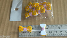 10X New Plastic Orange Pink Bow Tie Design Shanked Buttons Sewing Craft Clothes
