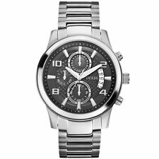 GUESS W0075G1 Men's Chronograph Stainless Steel Case & Bracelet Black Dial Watch