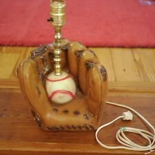 Vintage Baseball Glove w/ Ball Hand Painted Chalkware BedSide Table Lamp WORKS