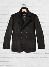 NWT Mens John Varvatos Oiled Blue Slim Cutaway Wool Blend Peacoat $1898 NR