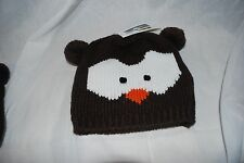 NEW CAPELLI OWL HAND KNIT BROWN BEANIE HAT SKULL WINTER CAP JUNIORS ADULT