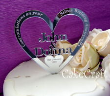 Mirrored Acrylic Personalised Silver Wedding Anniversary cake toppers decoration