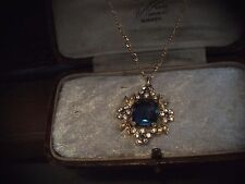 Vintage Jewellery Emerald Cut Montana Blue & Clear Crystal Pendant Necklace